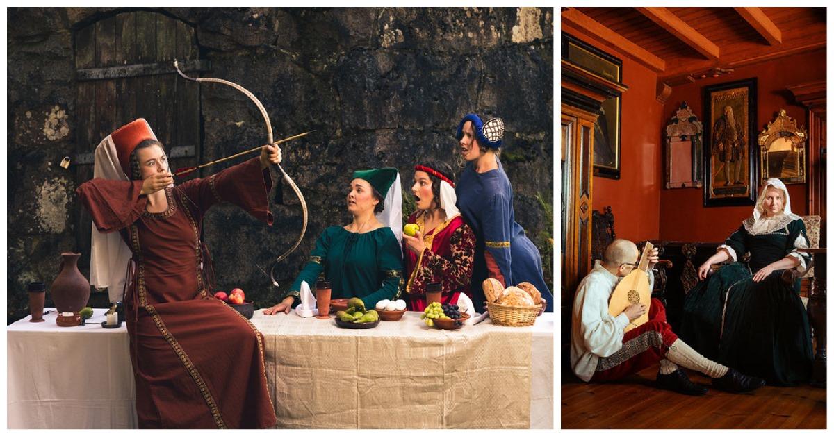Pyhän Päärynän legenda -tapahtuman markkinointikuva. Naiset ruokapöydän äärellä.